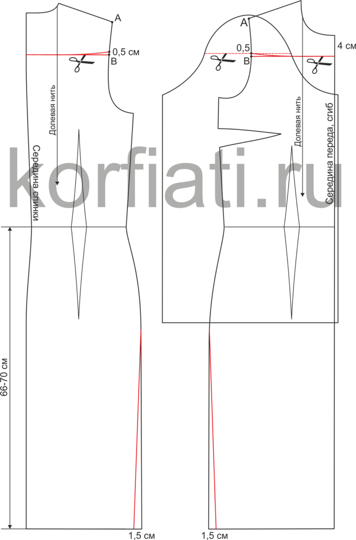 Моделирование выкройки платья с широкими рукавами