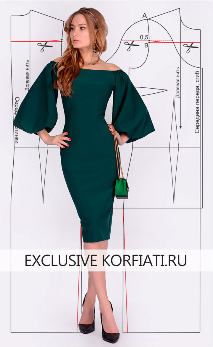 Выкройка платья с широкими рукавами - изображение