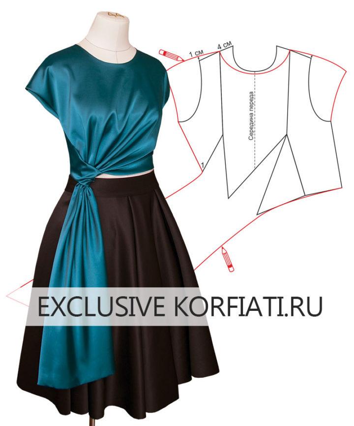 Выкройка блузки с драпировкой