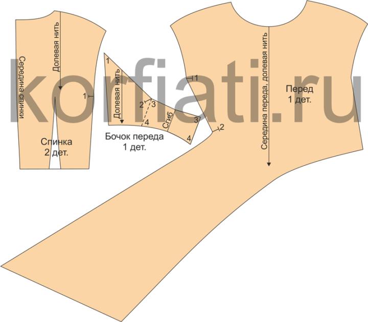 Детали кроя блузки с драпировкой