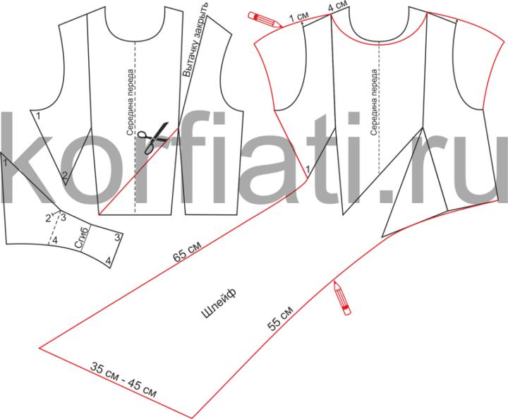 Моделирование драпировки переда блузки