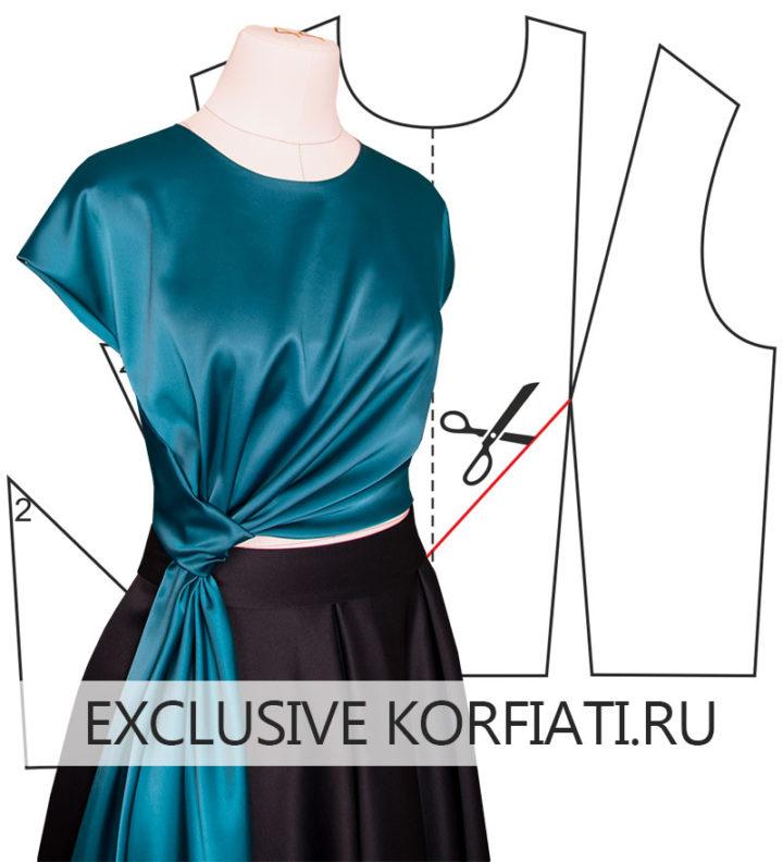 Блузка с драпировкой в готовом виде на манекене
