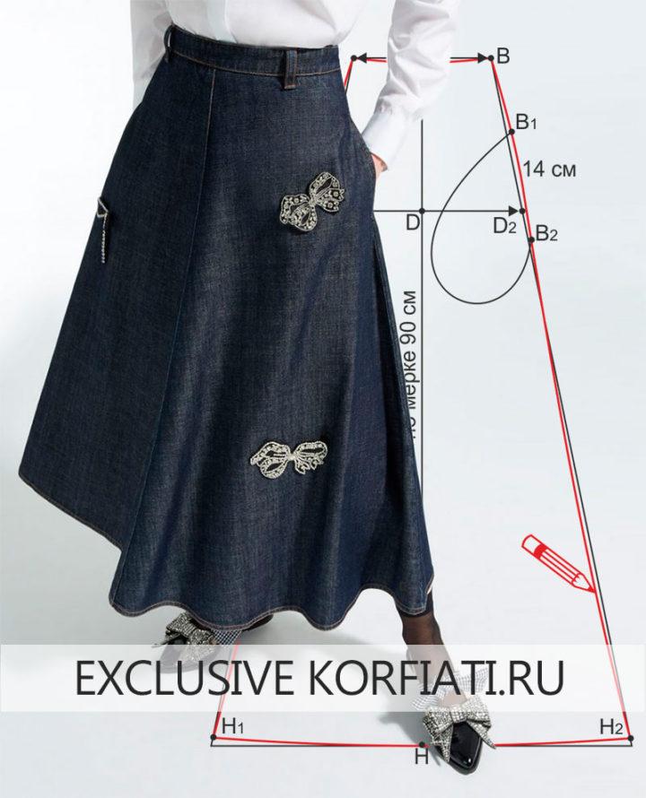 Выкройка юбки четырехклинки