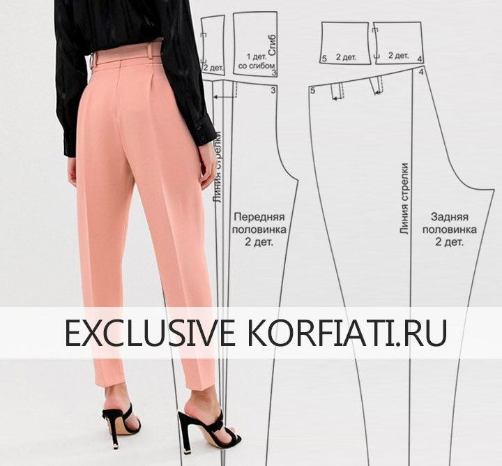Выкройка брюк с поясом-корсетом - моделирование задней половинки