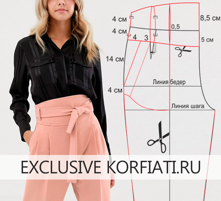 Моделирование выкройки брюк с поясом-корсетом