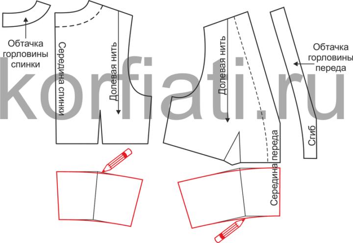 Выкройка платья с высоким разрезом - моделирование лифа