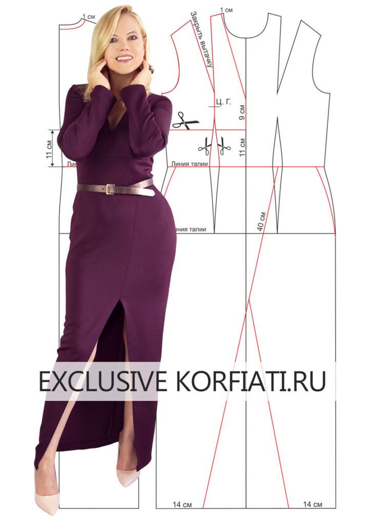 Выкройка платья с высоким разрезом
