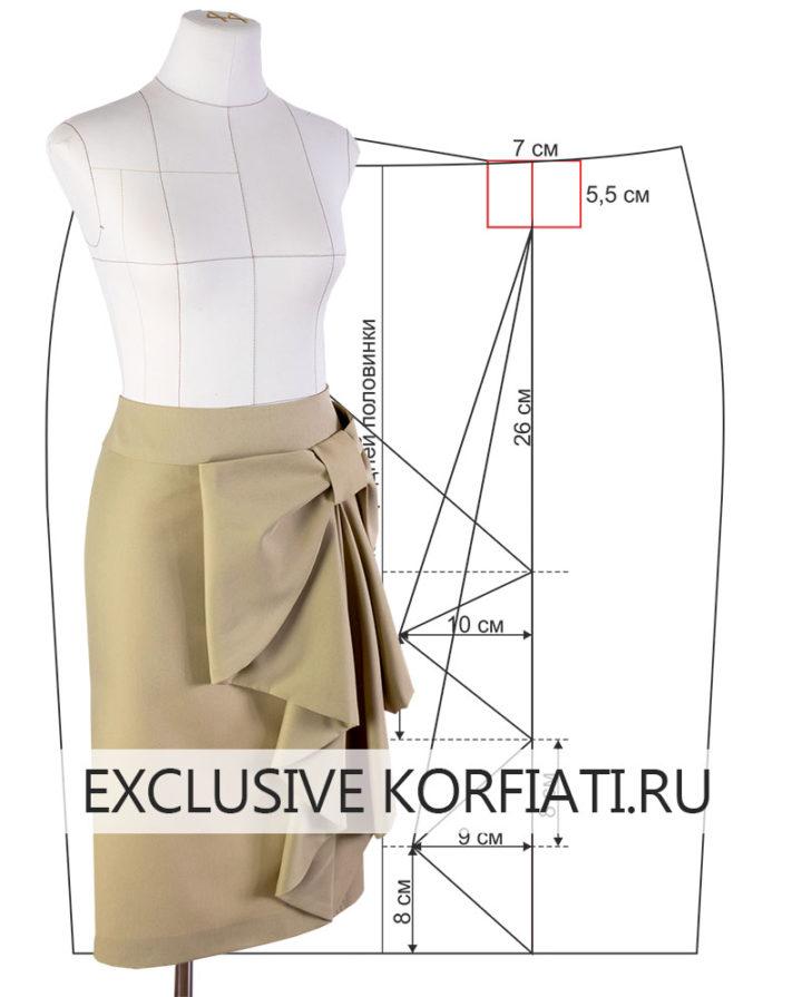 Выкройка юбки с цельнокроеным бантом
