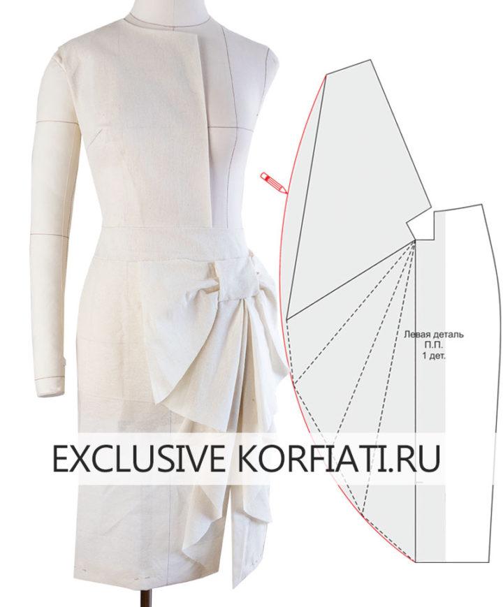 Макет юбки с цельнокроеным бантом из бязи
