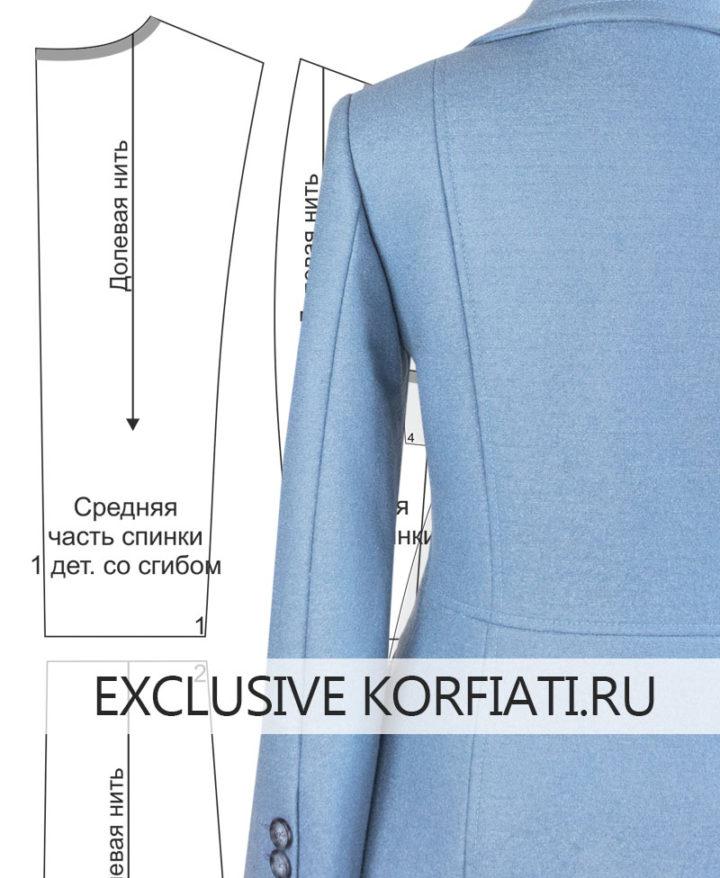 Выкройка демисезонного пальто - вид сзади