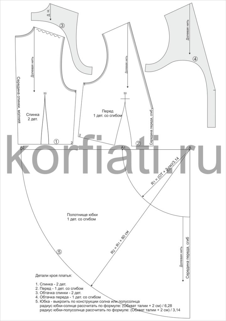 Выкройка праздничного платья на 5 размеров - детали кроя