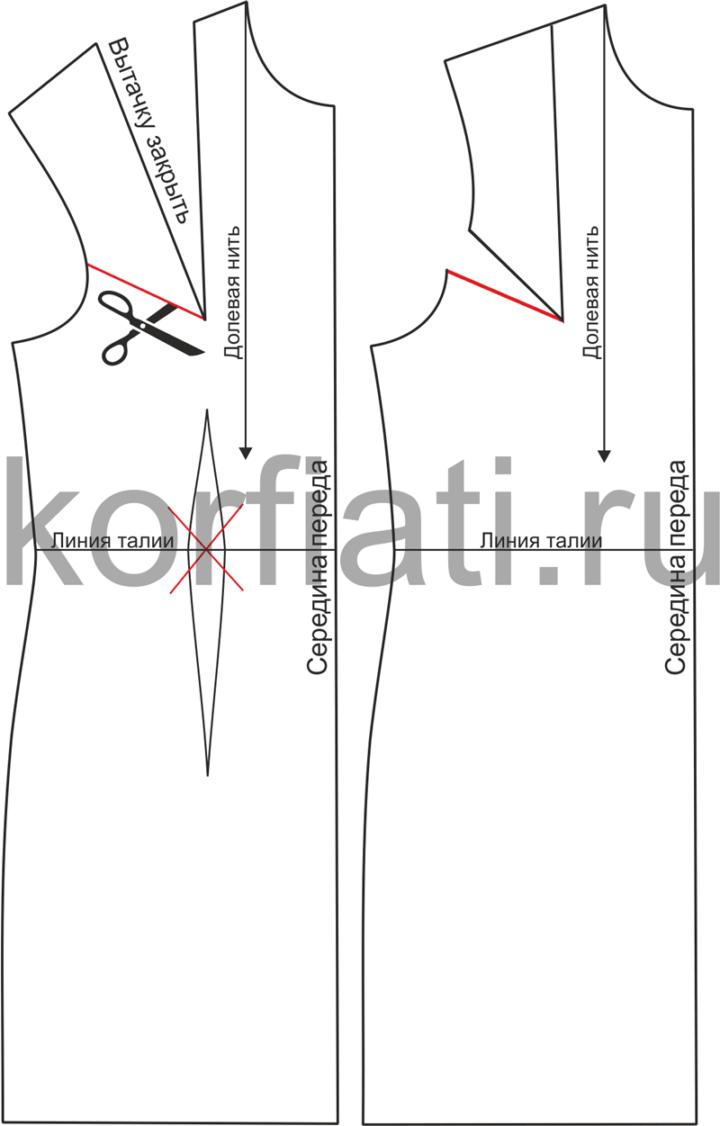 Моделирование выкройки теплого платья - перед