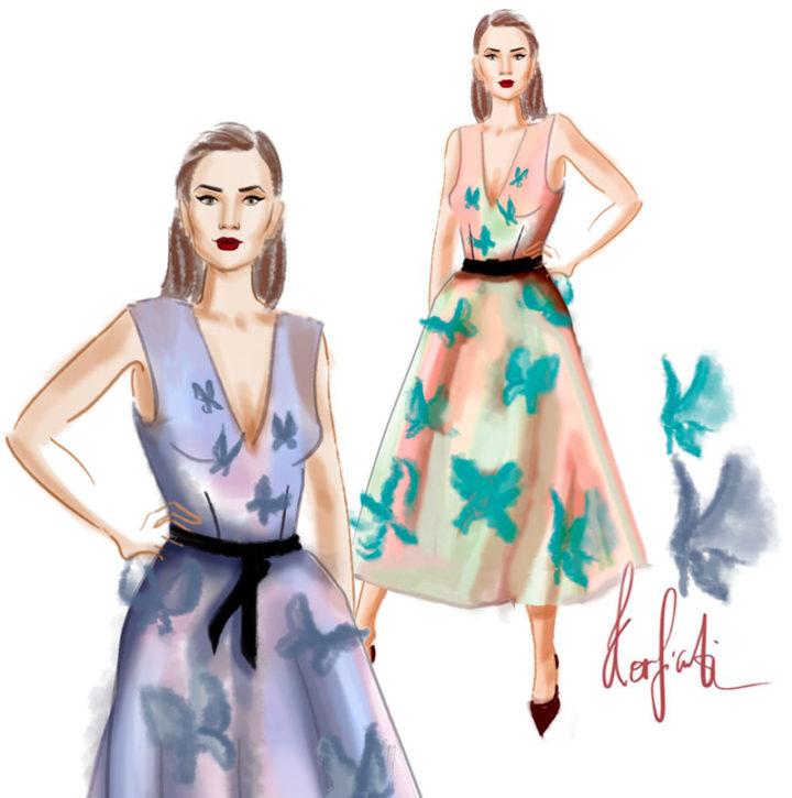 Эскиз модели платья в акварели