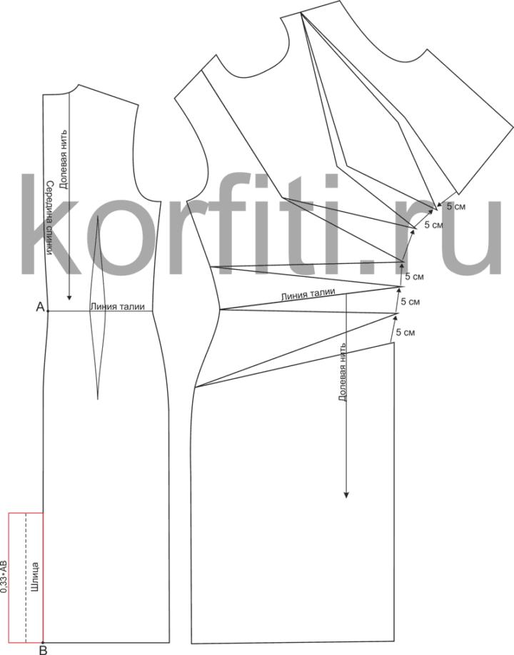Выкройка спинки и переда асимметричного платья