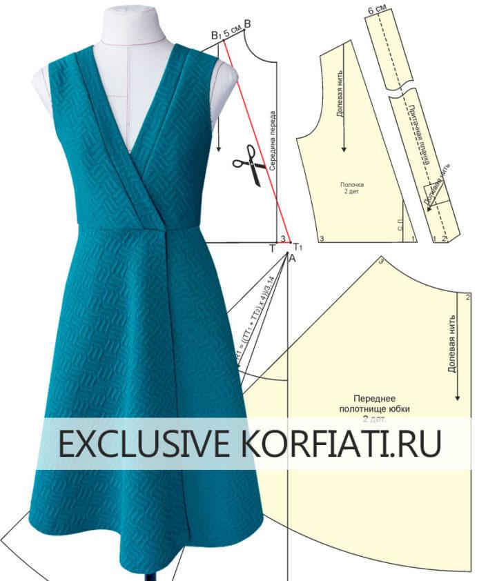 Выкройка платья с запахом - макет на манекене
