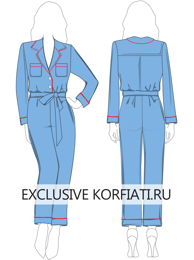 Выкройка комбинезона Fendi в пижамном стиле