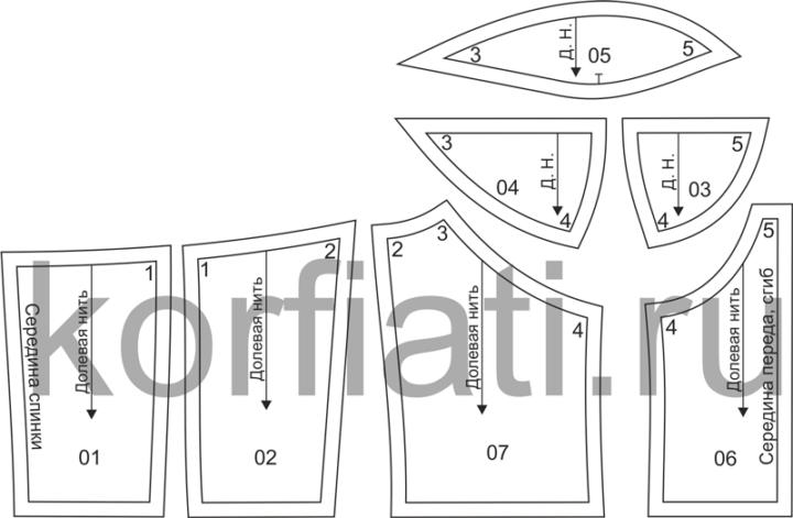 Выкройка лифа с чашкой из 3-х частей