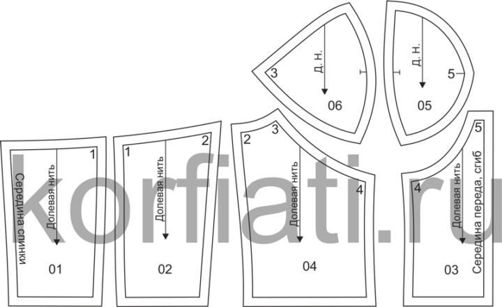 Выкройка лифа с чашками - детали кроя