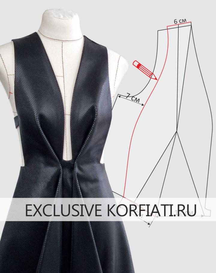 Моделирование платья с глубоким вырезом