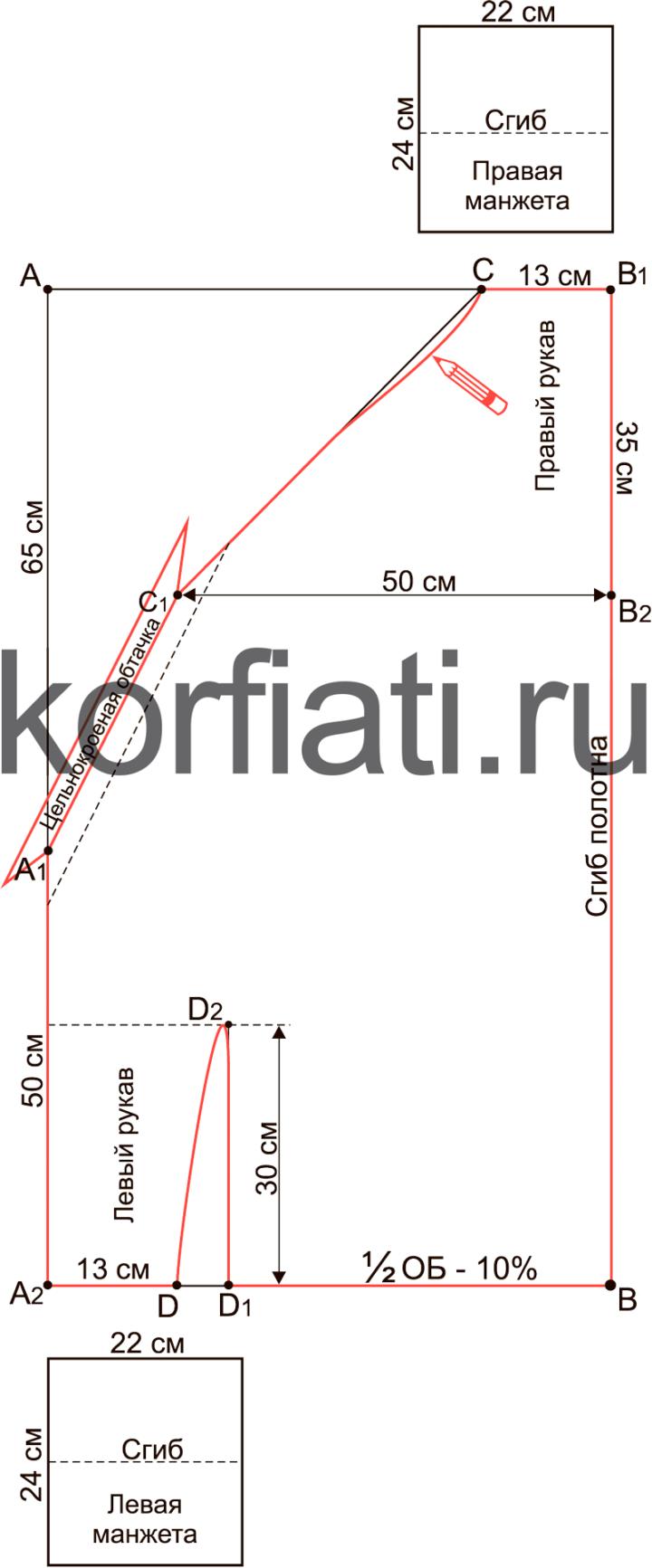 Перекошенный крой - моделирование выкройки джемпера