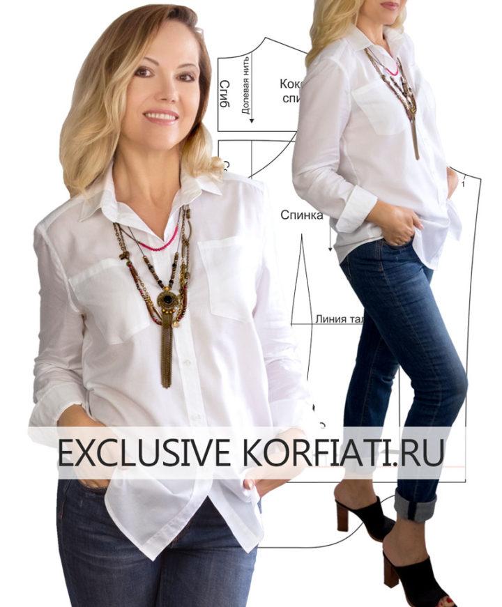 Белая женская рубашка - выкройка и мастер-класс по пошиву