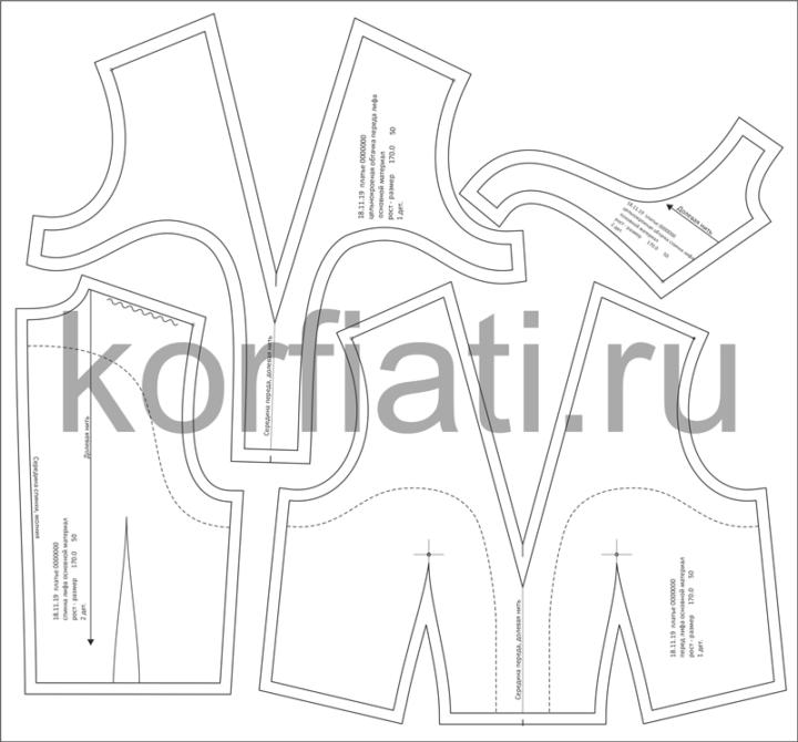Основные и производные лекала лифа платья