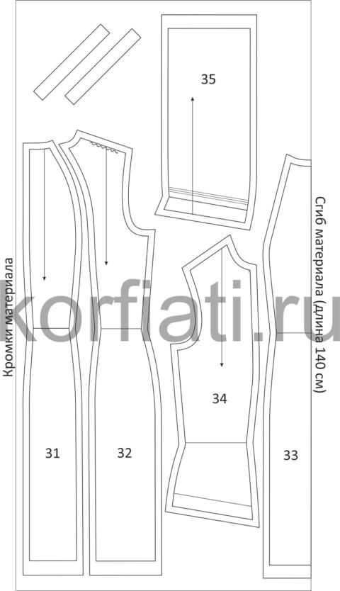 Раскладка деталей выкройки платья-футляр на ткани