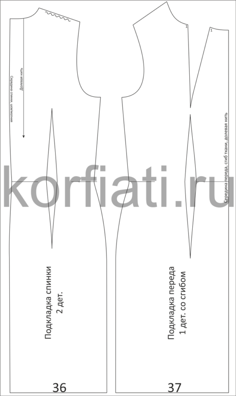 Выкройка платья-футляр на подкладке - детали кроя подкладки