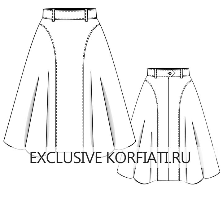 Расклешенная юбка миди с боковыми вставками