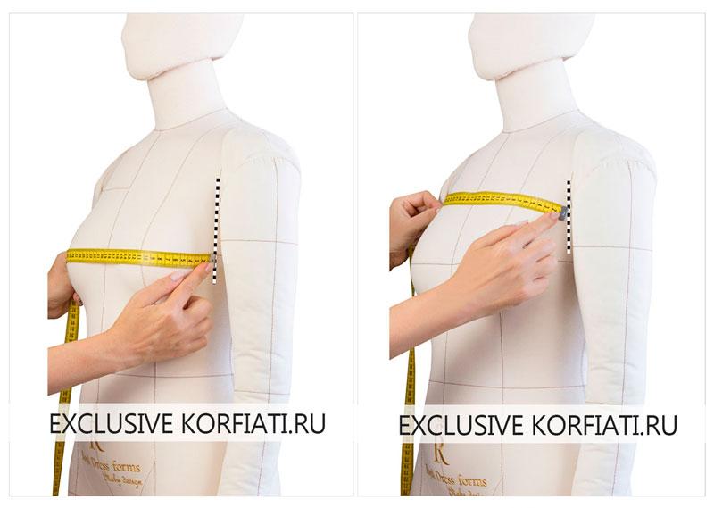 Снимаем мерки для расчета грудины нагрудной вытачки
