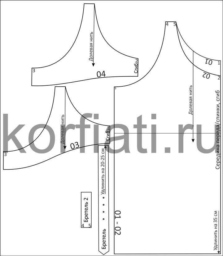 Готовая выкройка сарафана - детали