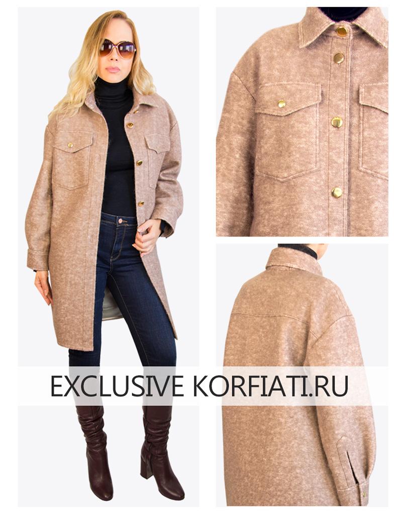 Выкройка пальто рубашки - фото модели спереди и сзади