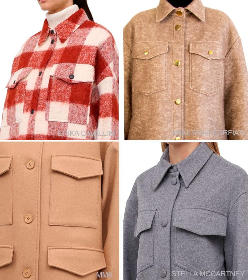 Конфигурация накладных карманов на дизайнерских пальто-рубашках