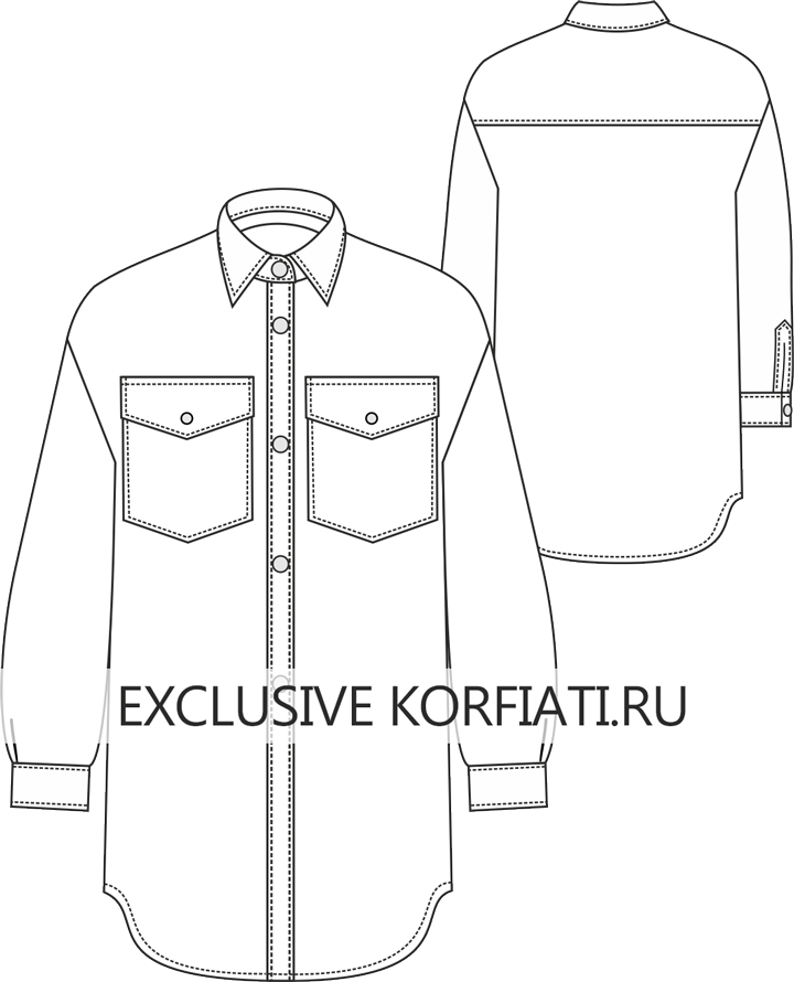 Готовая выкройка пальто-рубашки для скачивания - эскиз пальто-рубашки от Анастасии Корфиати