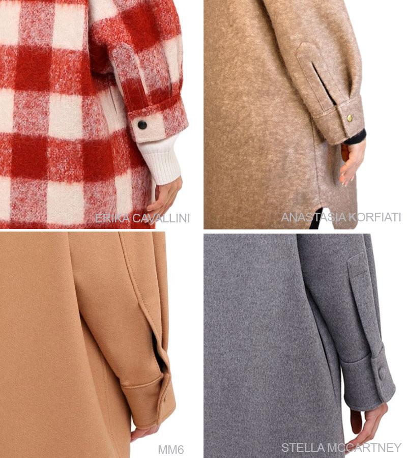 Способы обработки разреза рукава на пальто-рубашке