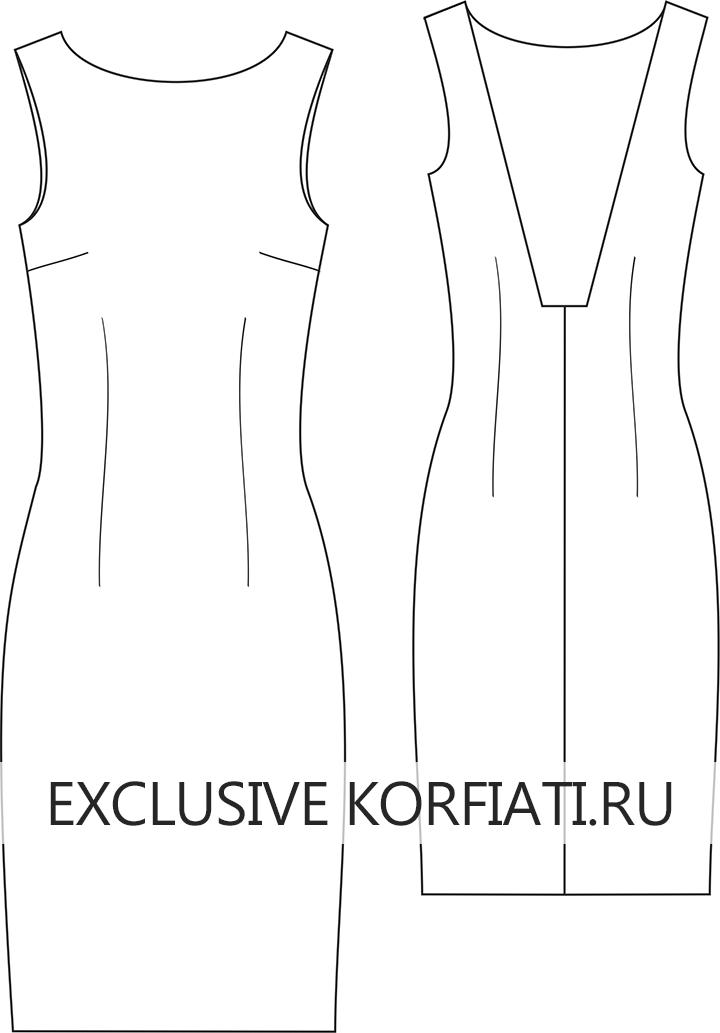 Эскиз платья без рукавов