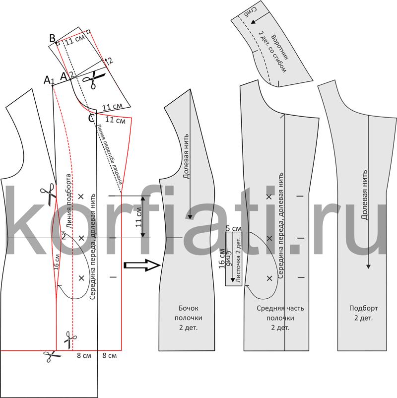 Моделирование полочки пальто-бушлата чертеж