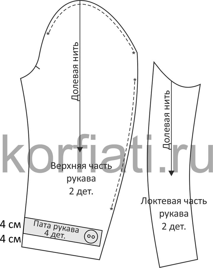 Выкройка рукава пальто-бушлата чертеж