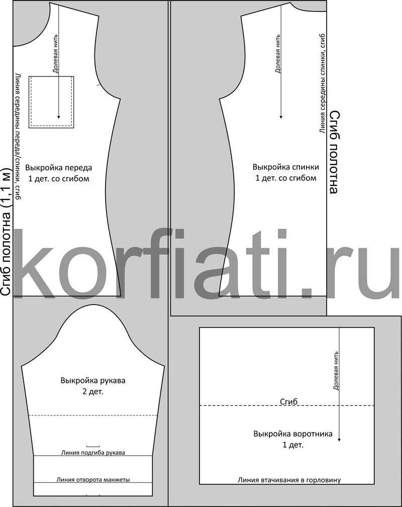 Как разложить детали выкройки водолазки на материале чертеж