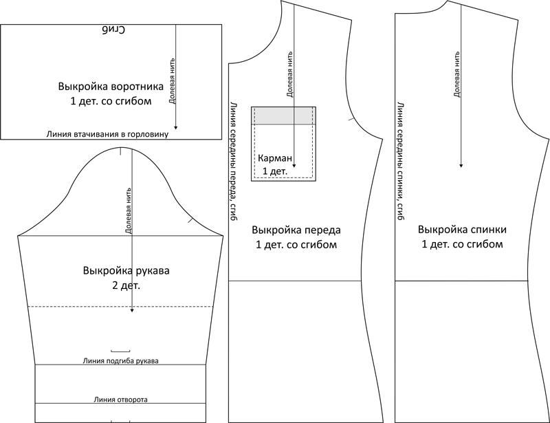 Детали кроя женской водолазки чертеж