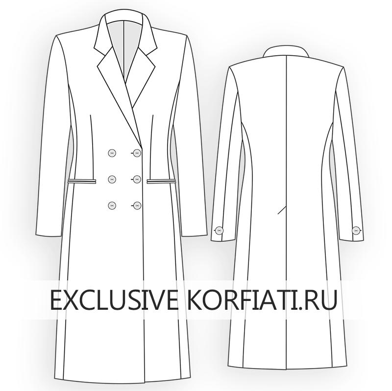 Эскиз двубортного пальто с английским воротником