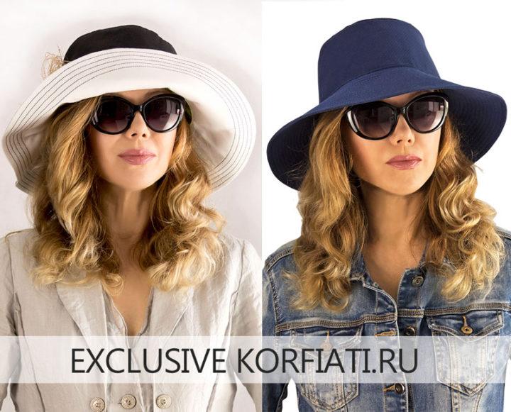 Женская шляпа панама на модели