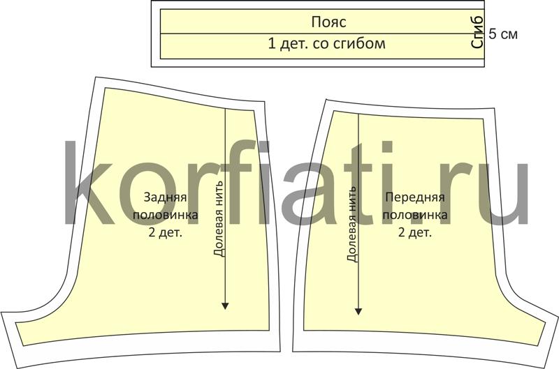 Одежда для дома - выкройка шорт детали кроя