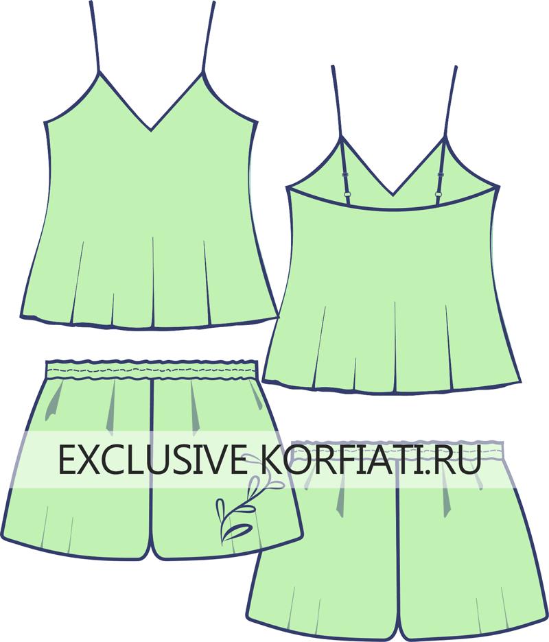 Эскиз комплекта для сна - топ и короткие шорты