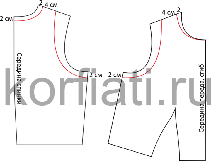 Моделирование спинки и переда лифа платья