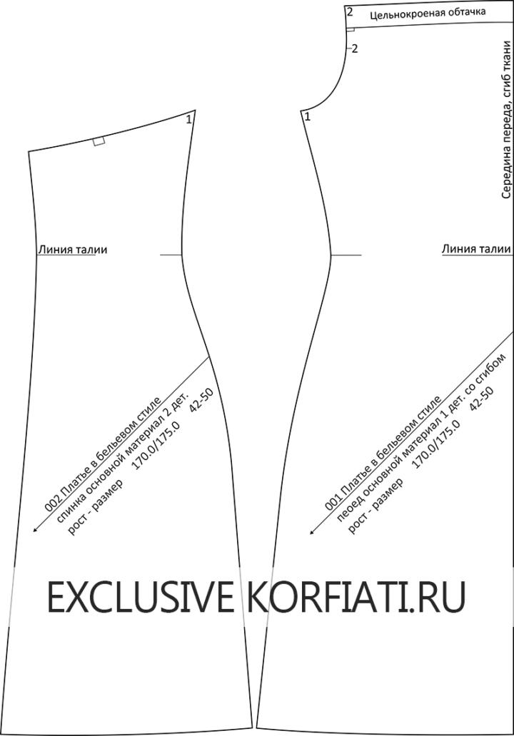 Детали кроя платья в бельевом стиле