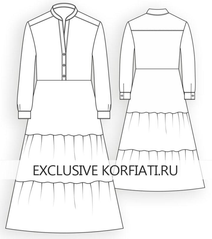 Эскиз платья с оборками