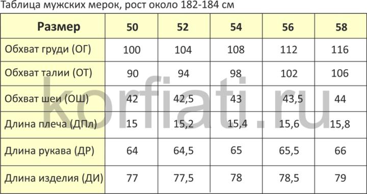 Таблица мерок для мужской рубашки