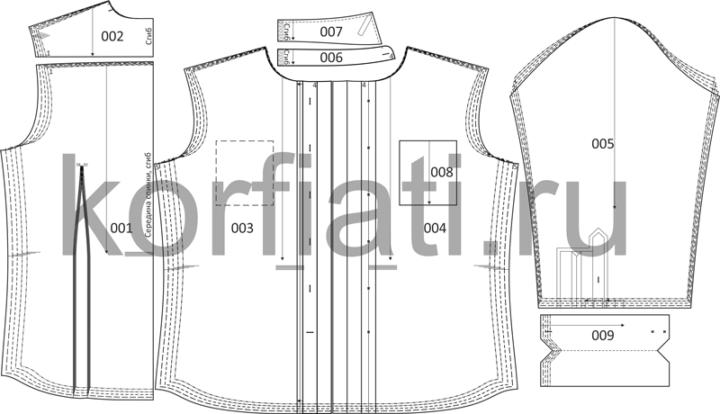 Детали кроя мужской рубашки на 5 размеров на листе выкроек чертеж